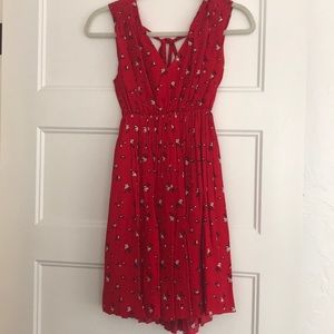 Madewell red floral dress size XXS
